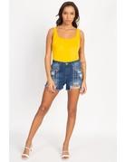 Anything Goes Satin Bodysuit Yellow