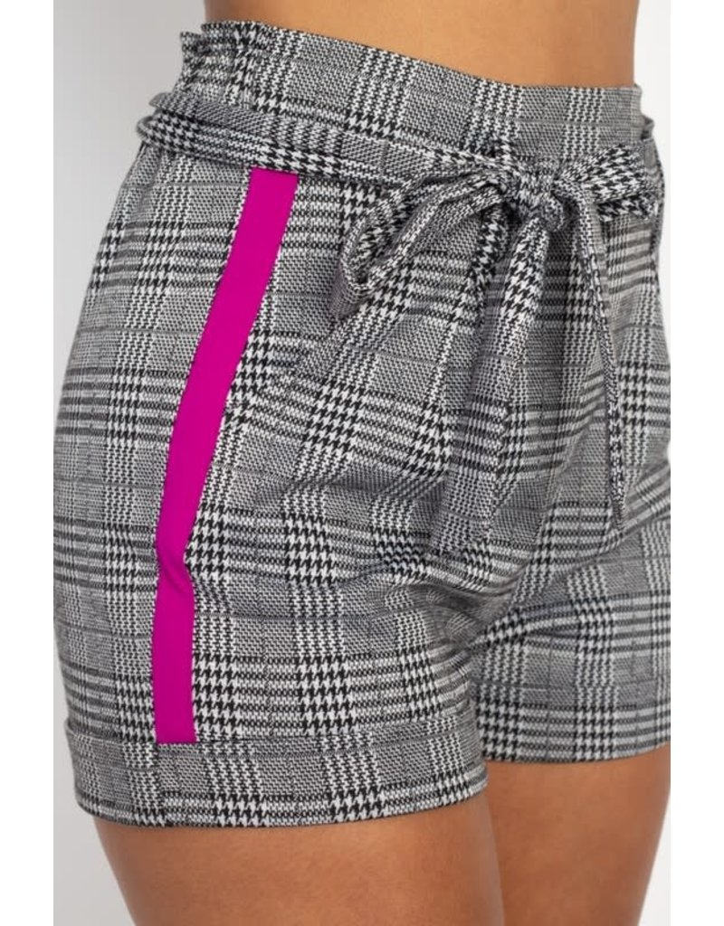 Switch It Up Plaid Shorts Neon Pink