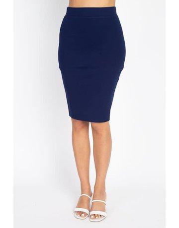 No Fuss Midi Skirt Navy