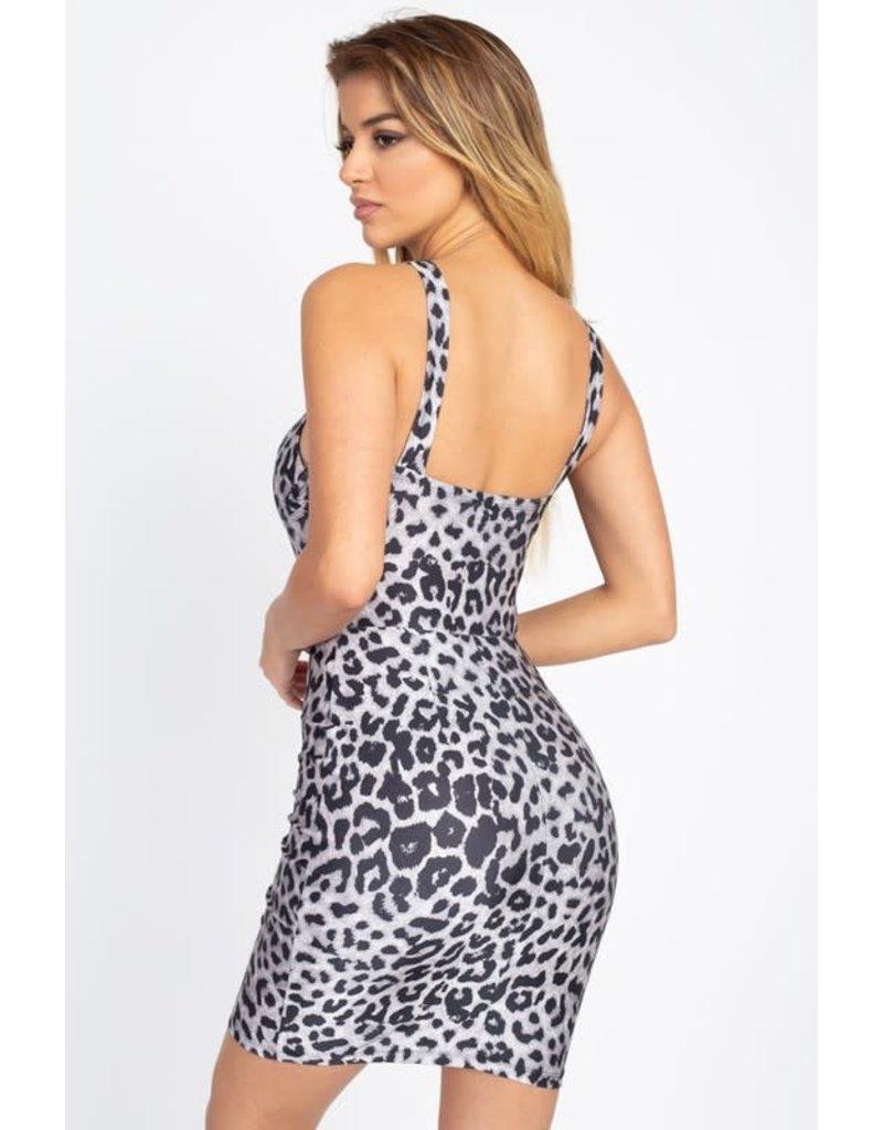 Get It Girl Leopard Dress White