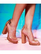 Take Me Out Block Heels - Cork