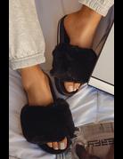 Feels Fur You Slides - Black