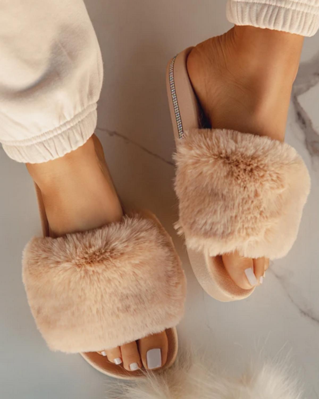 Feels Fur You Slides - Nude