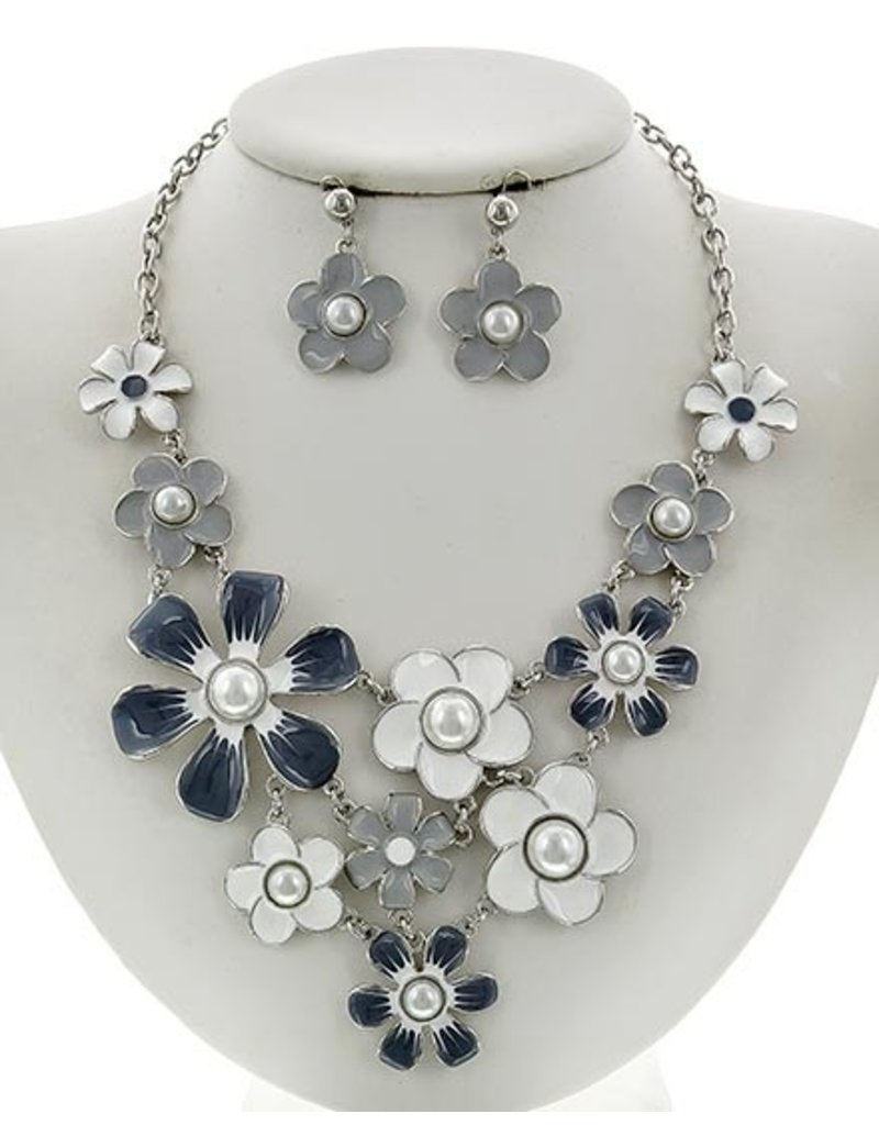 Flower Power Necklace Set Silver/Grey