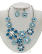 Flower Power Necklace Set Silver/Blue