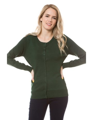 Olive Green Round Neck Cardigan