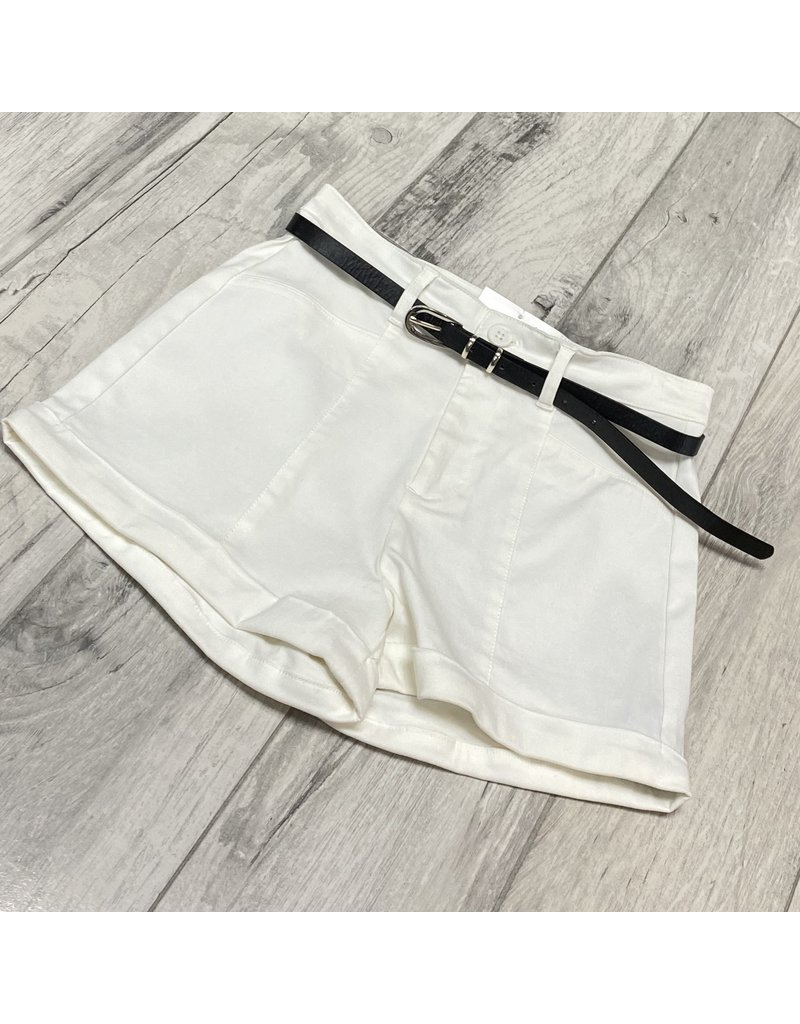 Shorty Low Belted Shorts Off White