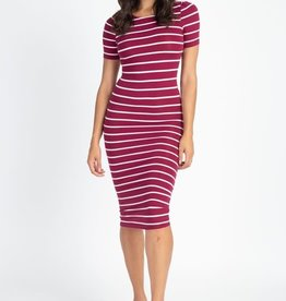 Sit Still Midi Bodycon Dress Burgundy