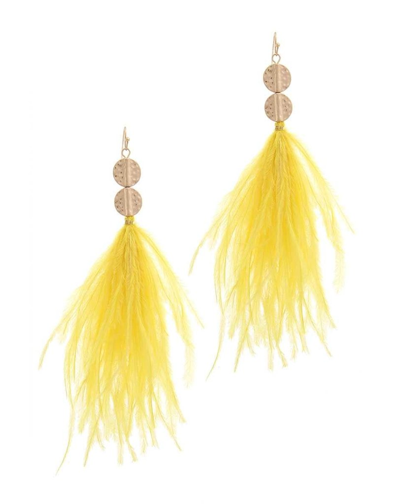 Feathered Touch Earrings Yellow