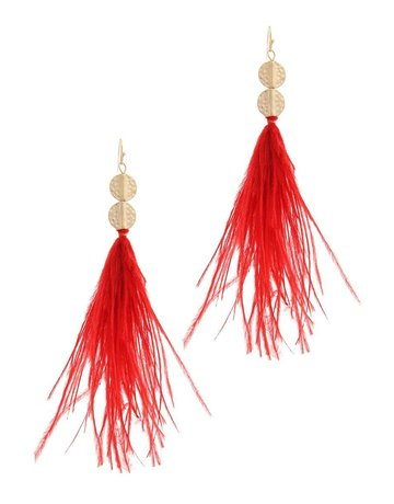 Feathered Touch Earrings Red
