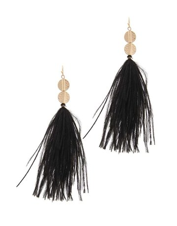 Feathered Touch Earrings Black