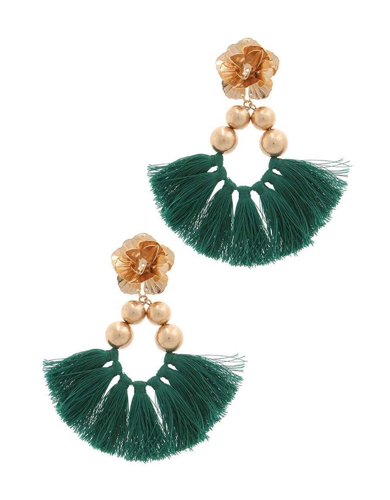 Flower Bomb Tassel Earrings Emerald