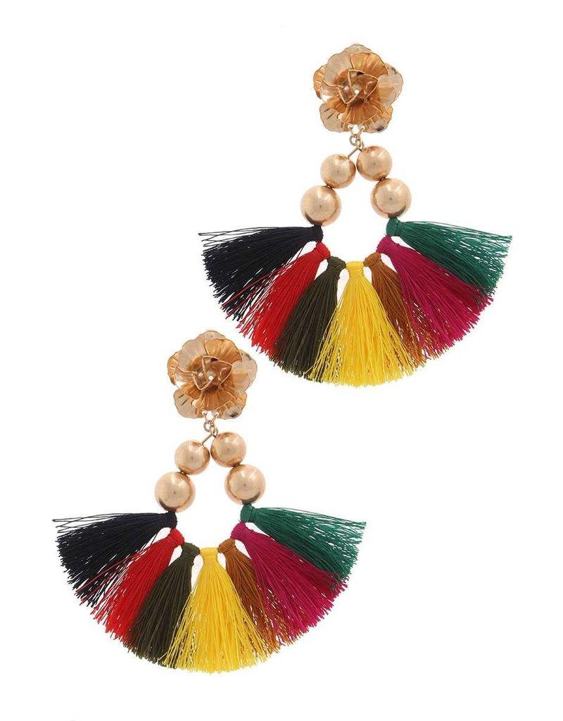 Flower Bomb Tassel Earrings Multi
