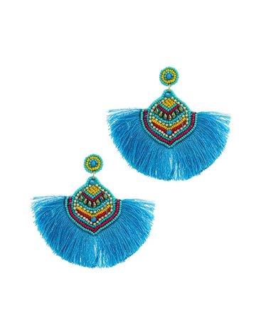 Down For Fun Tassel Earrings Aqua