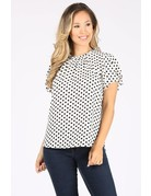 Flutter Away Polka Dot Top Black