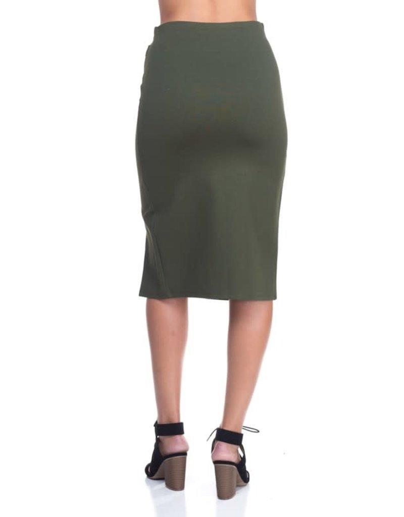 Looped Over Midi Pencil Skirt Olive