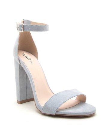 Ash Blue Block Heels