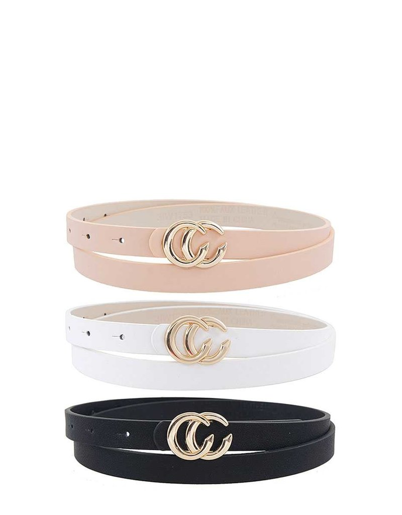 Buckled In 3PC Belt Set - Black/White/Blush