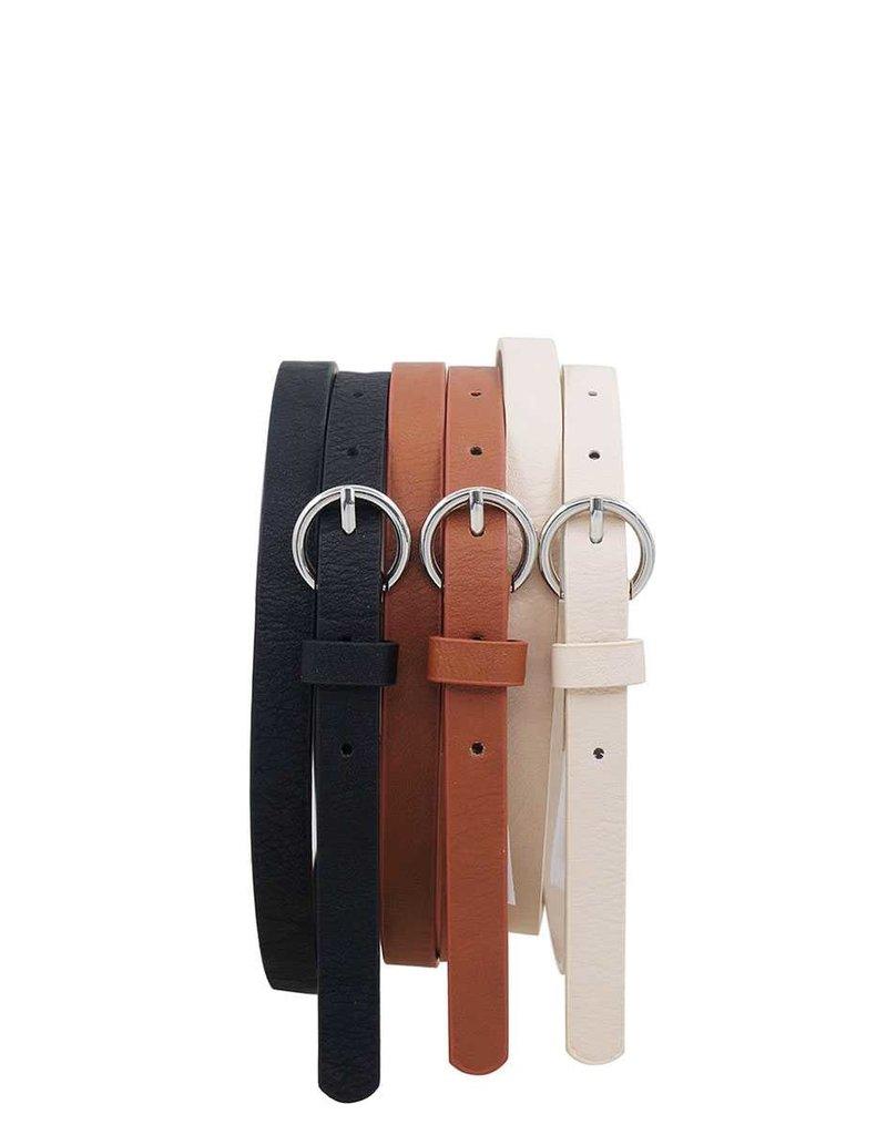 Working Together 3PC Belt Set - Black/Ivory/Cognac
