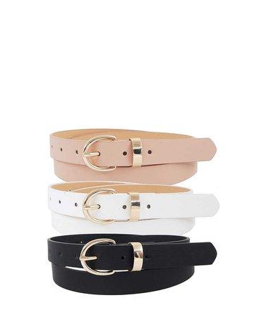 Three's Company 3PC Belt Set - Black/White/Blush