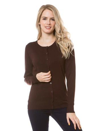 Chocolate Brown Round Neck Cardigan