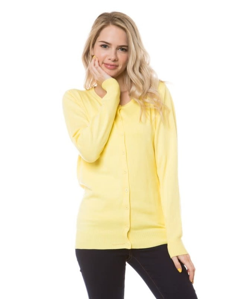 Pale Yellow Round Neck Cardigan