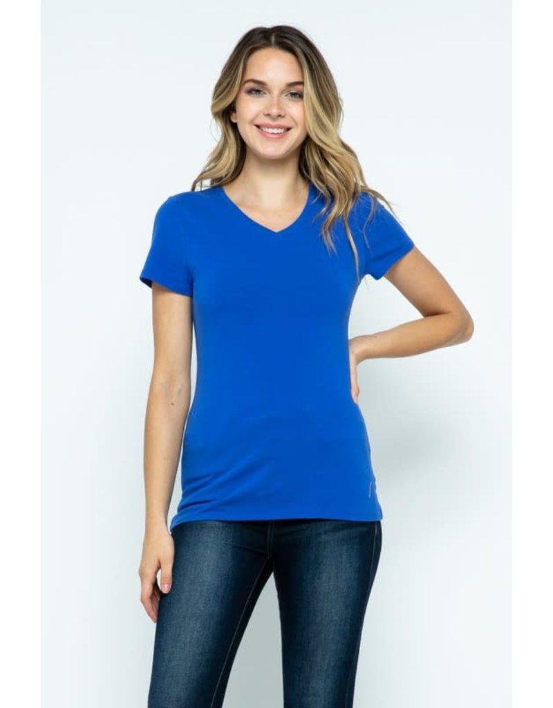 Dazzling Blue V-Neck Knit Shirt PREMIUM COTTON