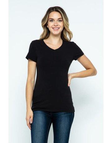 Black V-Neck Knit Shirt PREMIUM COTTON
