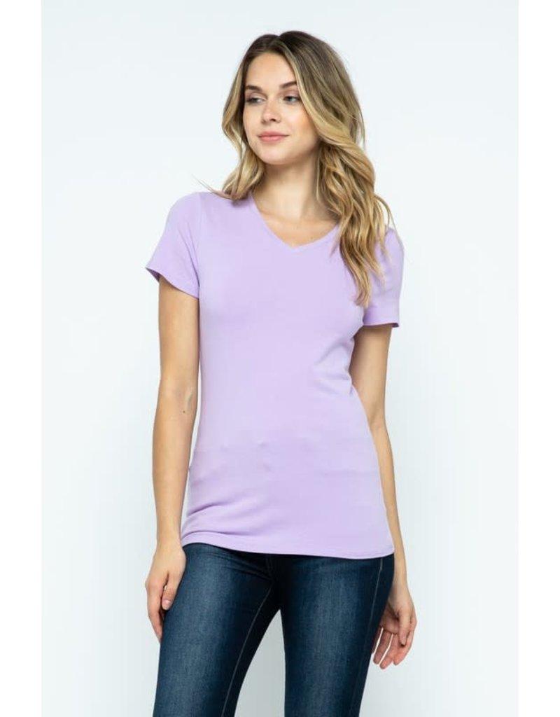 Lavender V-Neck Knit Shirt PREMIUM COTTON