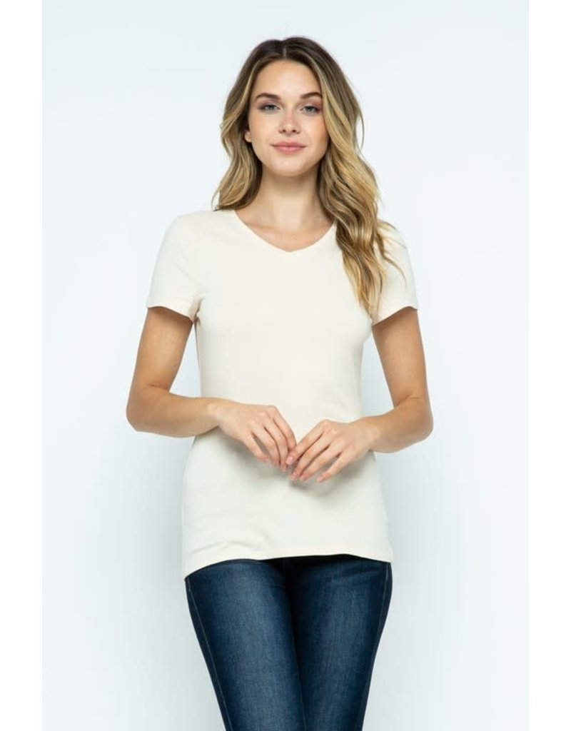 Ivory V-Neck Knit Shirt PREMIUM COTTON
