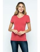 Red V-Neck Knit Shirt PREMIUM COTTON