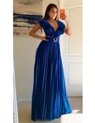 Fame & Fortune Velvet Maxi Dress Royal Blue