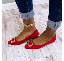 Buckle Up Flats Red