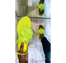 Flower Pop Jelly Sandals Yellow