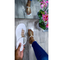 Don't Leaf Me Sandals White