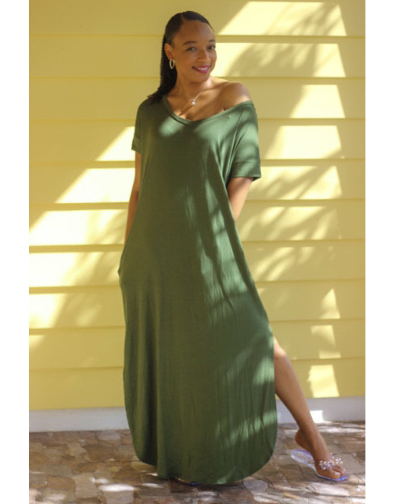 Stay Chill Maxi Dress Army Green
