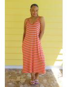 Come Chill Striped Dress Coral