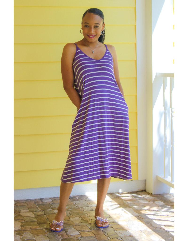 Come Chill Striped Dress Lavender