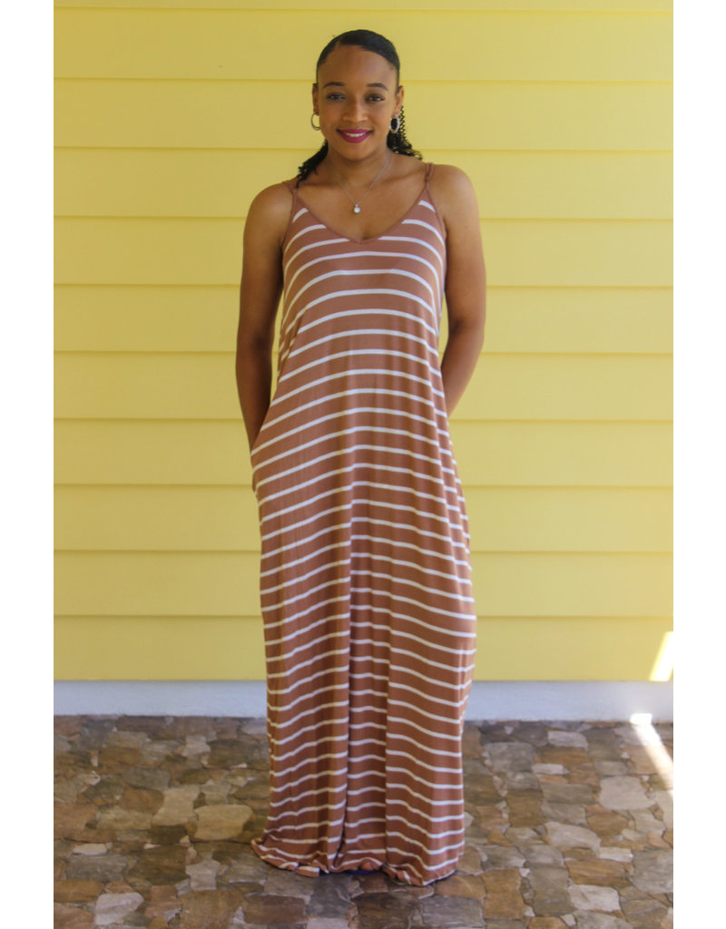 Sit Back & Relax Striped Maxi Dress Camel