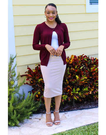 Less Hassle Pencil Skirt - Nude/Blush