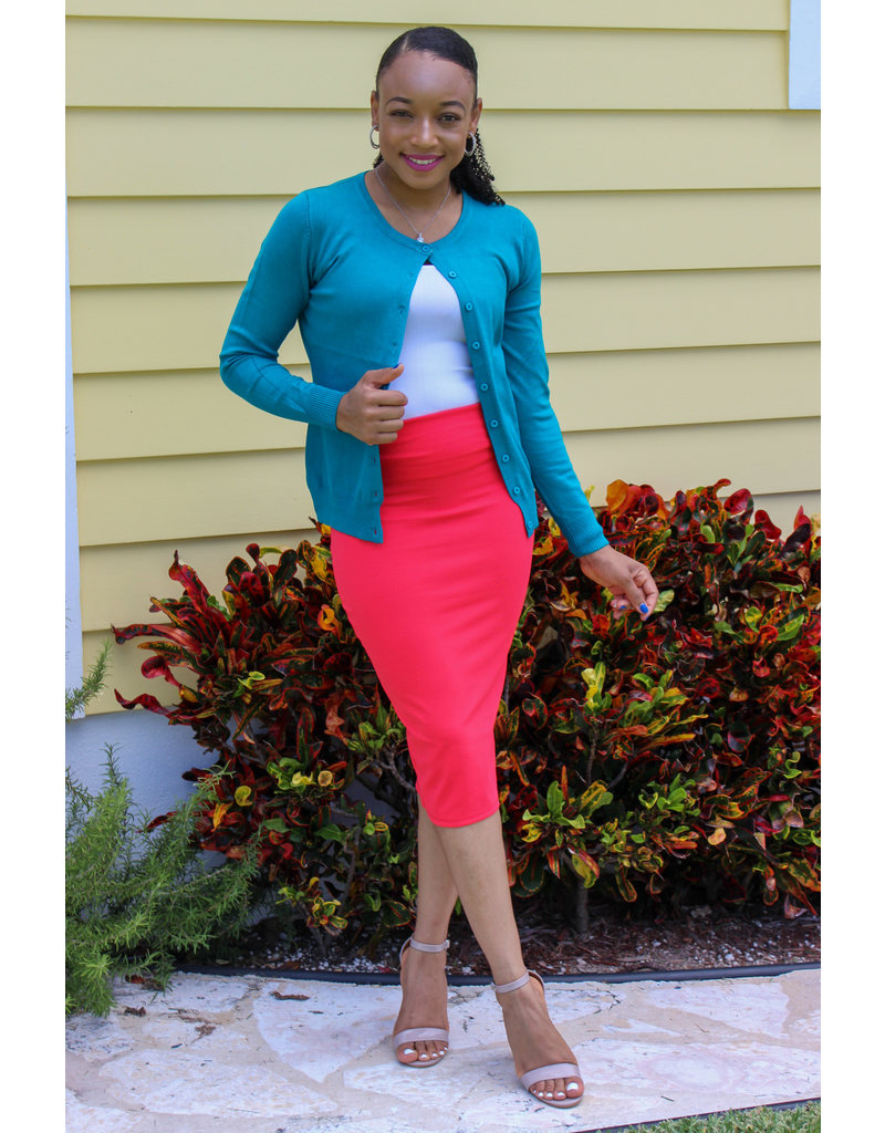 Get Going Pencil Skirt Coral
