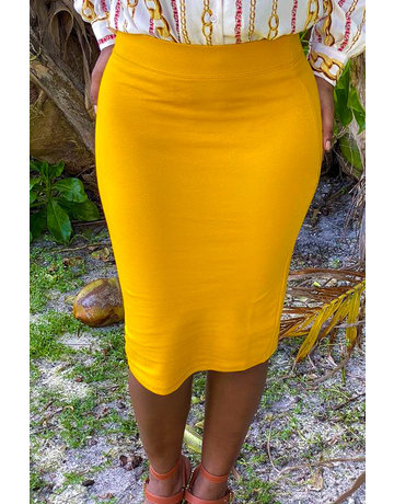 No Fuss Midi Skirt Mustard