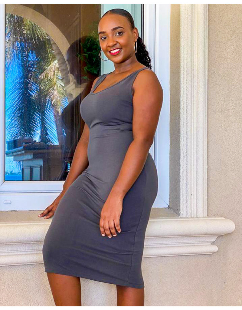 Easy Go Tank Dress Dark Grey