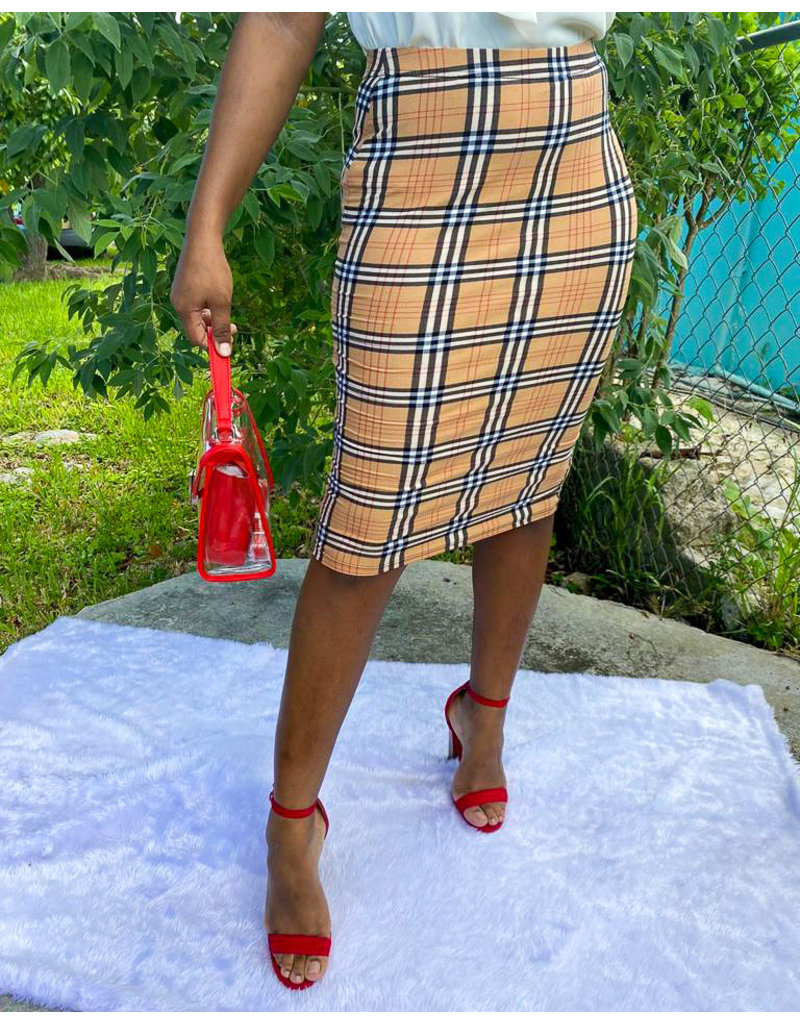 Back At It Grid Pencil Skirt
