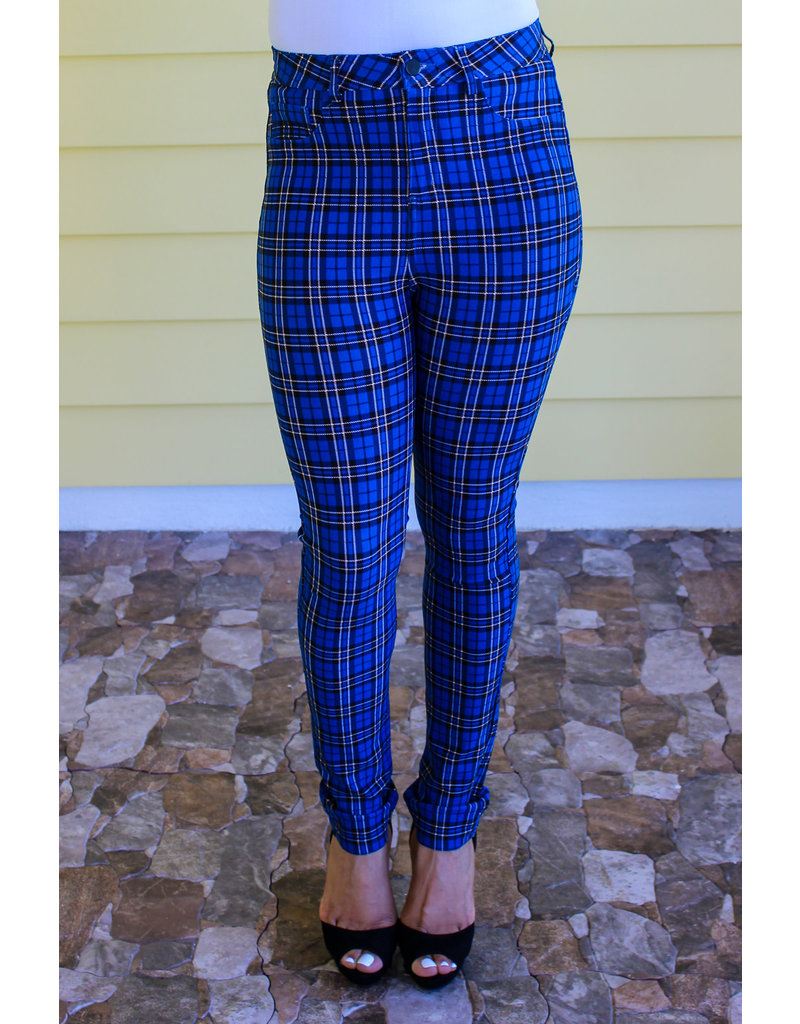 Straight To The Point Plaid Pants Blue