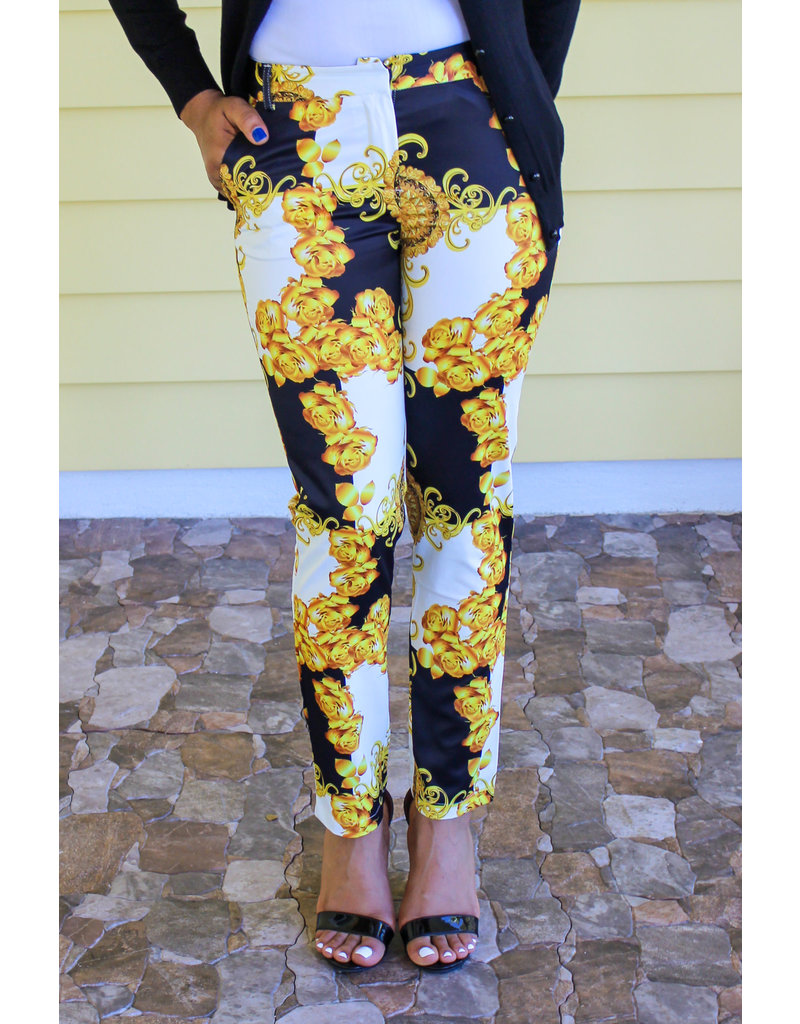 Golden Roses Ankle Pants