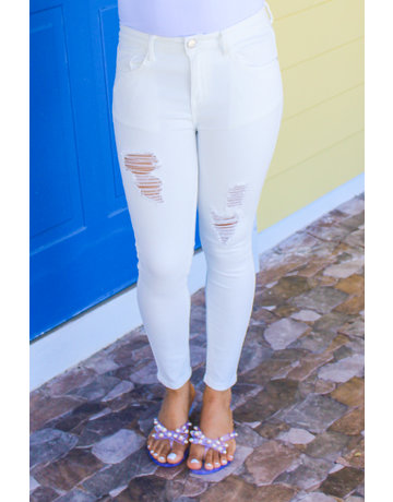 No Hassle Distressed Skinny Jeans