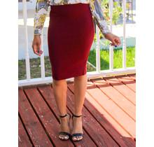No Fuss Midi Skirt Burgundy