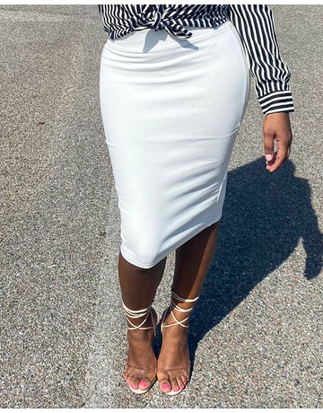 No Fuss Midi Skirt Ivory