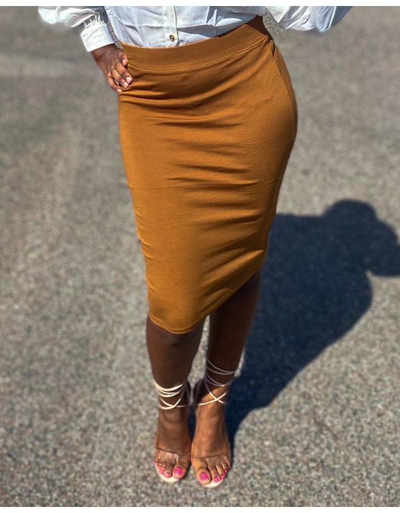 No Fuss Midi Skirt Camel